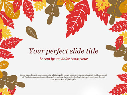Nature & Environment: Autumn Oak Leaves PowerPoint Template #15320