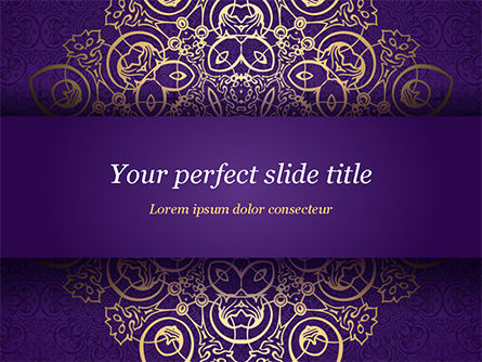Purple Indian Pattern Presentation Template, 15321, Abstract/Textures — PoweredTemplate.com