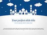 Construction: White Silhouette of Mosque PowerPoint Template #15323