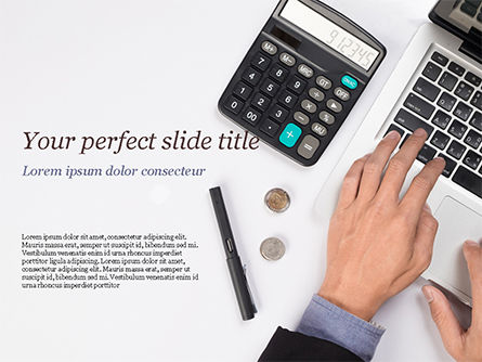 Financial/Accounting: Man Working with Laptop and Calculator PowerPoint Template #15330