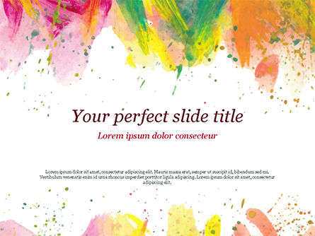 Art & Entertainment: Colored Paint Strokes PowerPoint Template #15335