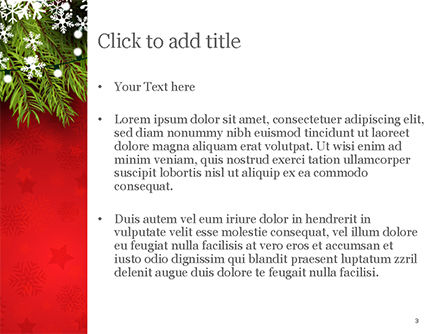 Christmas Tree Branches and Snowflakes PowerPoint Template, Slide 3, 15339, Holiday/Special Occasion — PoweredTemplate.com