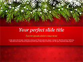 Holiday/Special Occasion: Christmas Tree Branches and Snowflakes PowerPoint Template #15339