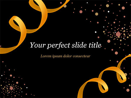 Holiday/Special Occasion: Golden Festive Ribbons PowerPoint Template #15344