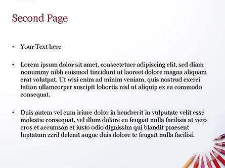 Colored Pencils Arranged in Semicircle PowerPoint Template, Slide 2, 15346, Art & Entertainment — PoweredTemplate.com