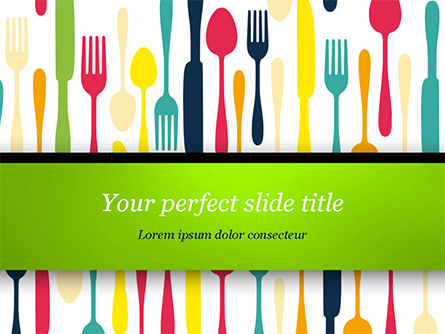 Food & Beverage: Cutlery Pattern PowerPoint Template #15348