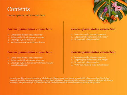 Monstera Leaves and Flowers PowerPoint Template, Slide 2, 15350, Nature & Environment — PoweredTemplate.com