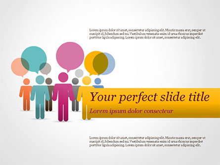 Business Concepts: Humans with Speech Bubbles PowerPoint Template #15352