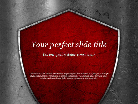 Red Shield PowerPoint Template, 15362, Careers/Industry — PoweredTemplate.com