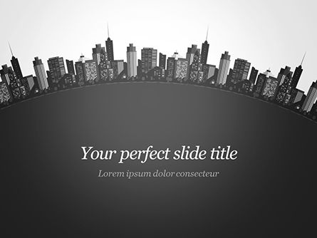 Construction: Cityscape Silhouet PowerPoint Template #15372