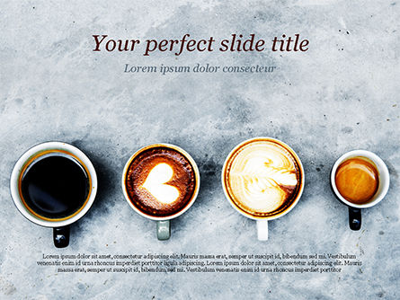 Food & Beverage: Aerial View of Various Coffee PowerPoint Template #15380
