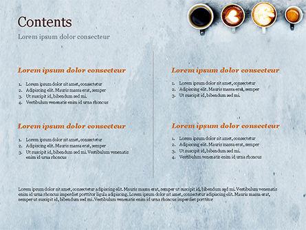 Aerial View of Various Coffee PowerPoint Template, Slide 2, 15380, Food & Beverage — PoweredTemplate.com