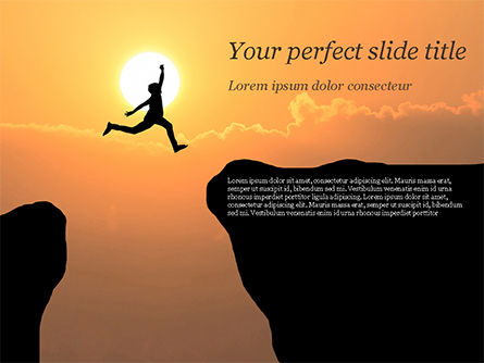 Jump Over Cliff PowerPoint Template, 15381, Business Concepts — PoweredTemplate.com