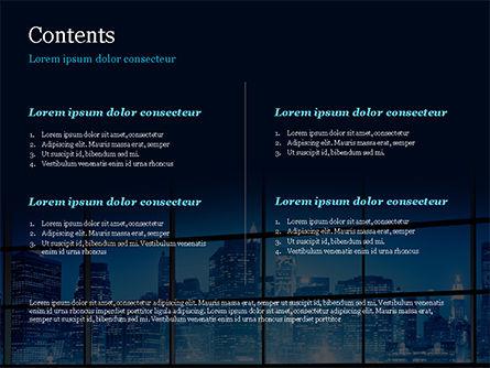 View of a Night Town PowerPoint Template, Slide 2, 15383, Construction — PoweredTemplate.com