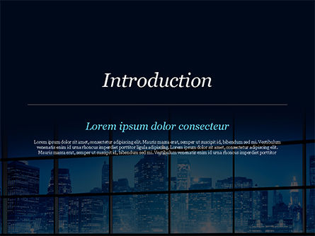 View of a Night Town PowerPoint Template, Slide 3, 15383, Construction — PoweredTemplate.com