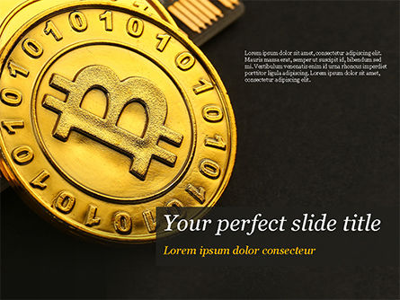 Technology and Science: Bitcoins on Circuit Board PowerPoint Template #15387
