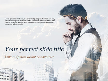 People: Young Businessman and City PowerPoint Template #15389