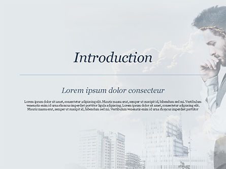 Young Businessman and City PowerPoint Template, Slide 3, 15389, People — PoweredTemplate.com