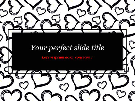 Black Hearts PowerPoint Template, 15390, Holiday/Special Occasion — PoweredTemplate.com