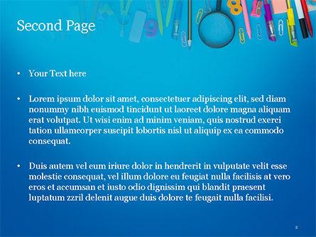School Supplies on Blue Background PowerPoint Template, Slide 2, 15392, Education & Training — PoweredTemplate.com