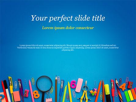 School Supplies on Blue Background PowerPoint Template, 15392, Education & Training — PoweredTemplate.com