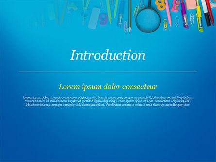 School Supplies on Blue Background PowerPoint Template, Slide 3, 15392, Education & Training — PoweredTemplate.com