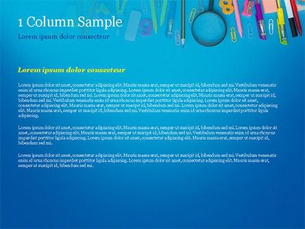 School Supplies on Blue Background PowerPoint Template, Slide 4, 15392, Education & Training — PoweredTemplate.com
