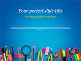 Education & Training: School Supplies on Blue Background PowerPoint Template #15392