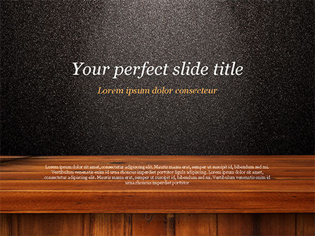 Abstract/Textures: Glossy Black Surface with Wooden Plank PowerPoint Template #15393