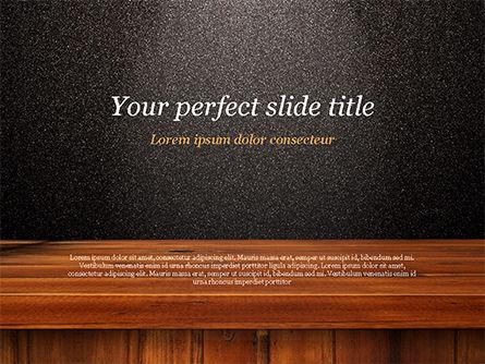 Abstract/Textures: Modèle PowerPoint de surface noire brillante avec planche de bois #15393