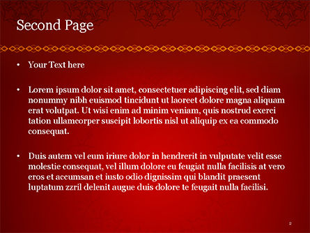 Burgundy Background with Oriental Mandala Pattern PowerPoint Template, Slide 2, 15397, Abstract/Textures — PoweredTemplate.com