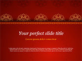 Abstract/Textures: Burgundy Background with Oriental Mandala Pattern PowerPoint Template #15397