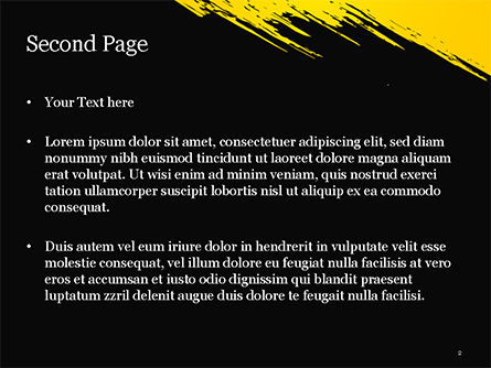 Yellow Brushstroke on Black Background PowerPoint Template, Slide 2, 15399, Abstract/Textures — PoweredTemplate.com