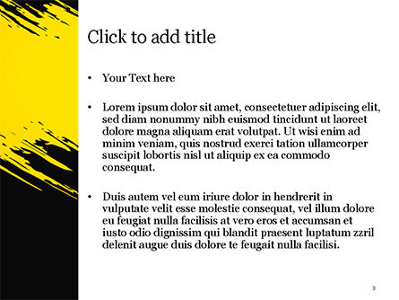 Yellow Brushstroke on Black Background PowerPoint Template, Slide 3, 15399, Abstract/Textures — PoweredTemplate.com