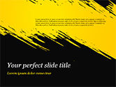 Abstract/Textures: Yellow Brushstroke on Black Background PowerPoint Template #15399