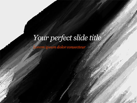 Abstract/Textures: Black Watercolor Brush Stroke PowerPoint Template #15408