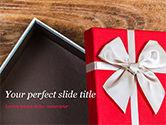 Holiday/Special Occasion: Plantilla de PowerPoint - abrir caja de regalo roja #15410