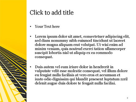 Tire Tracks on Yellow Background PowerPoint Template, Slide 3, 15416, Abstract/Textures — PoweredTemplate.com
