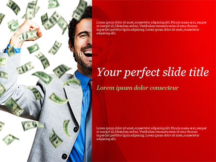 People: Man Enjoying Money Rain PowerPoint Template #15419