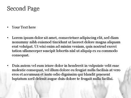 Raised Hands PowerPoint Template, Slide 2, 15421, Education & Training — PoweredTemplate.com