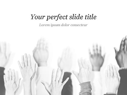 Education & Training: Raised Hands PowerPoint Template #15421