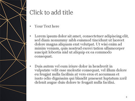 Black Background with Golden Triangular Grid and Frame PowerPoint Template, Slide 3, 15425, Abstract/Textures — PoweredTemplate.com