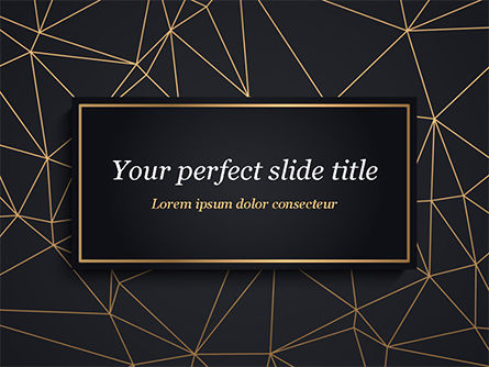 Abstract/Textures: Black Background with Golden Triangular Grid and Frame PowerPoint Template #15425