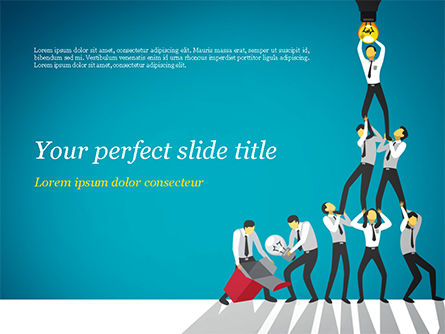 Business Concepts: Teamwork Concept with Human Pyramid PowerPoint Template #15436