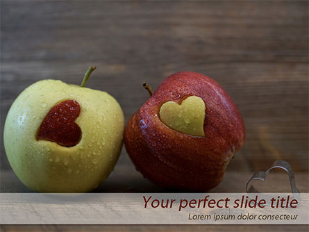 Food & Beverage: Apples with Hearts PowerPoint Template #15437