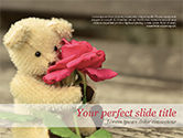Holiday/Special Occasion: Teddy Bear with a Rose PowerPoint Template #15441