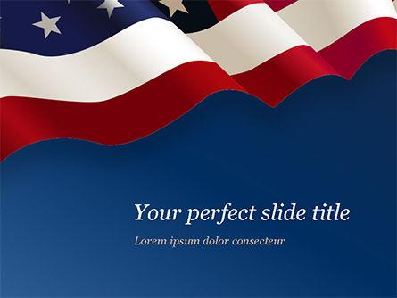 America: Verenigde Staten Vlag Op Blauwe Achtergrond PowerPoint Template #15443