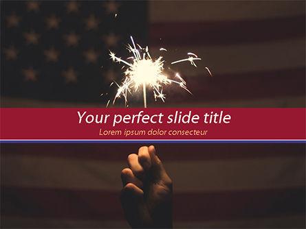 America: Sparkler En Usa Vlag PowerPoint Template #15449