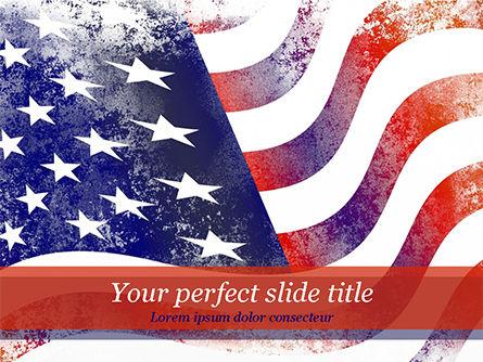 America: 파워포인트 템플릿 - 세 미국 국기 #15450