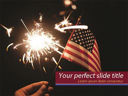 America: Hand Met Sparkler En Usa Vlaggenmast PowerPoint Template #15453